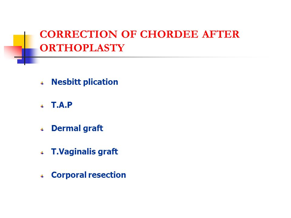 CORRECTION OF CHORDEE AFTER ORTHOPLASTY