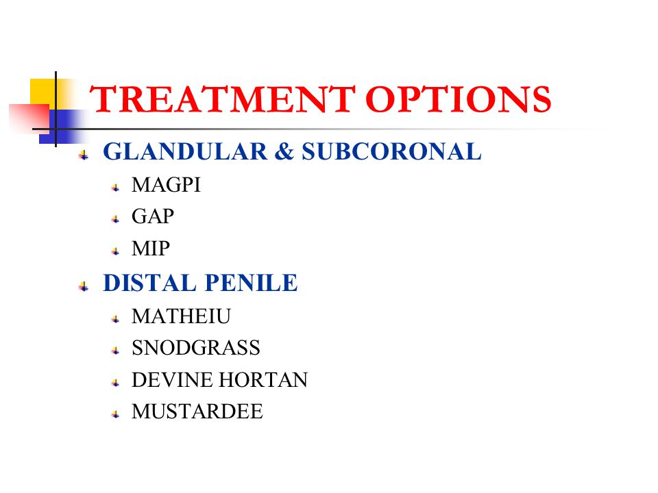 TREATMENT OPTIONS GLANDULAR & SUBCORONAL DISTAL PENILE MAGPI GAP MIP