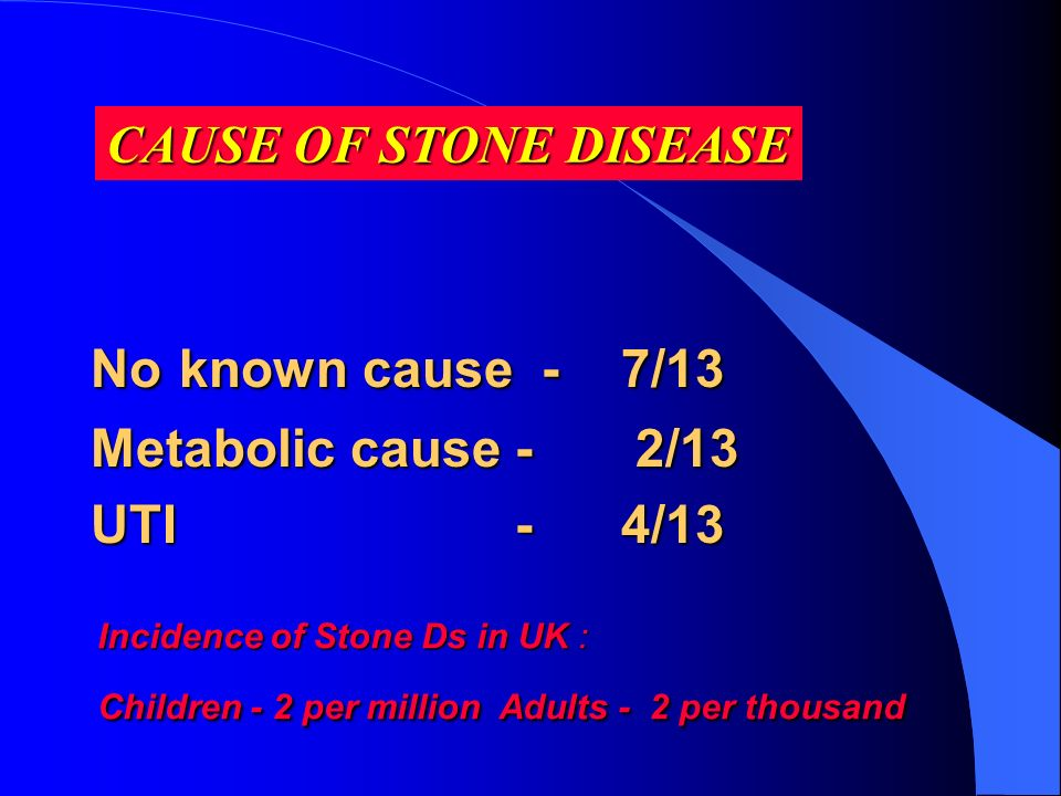 CAUSE OF STONE DISEASE No known cause - 7/13 Metabolic cause - 2/13