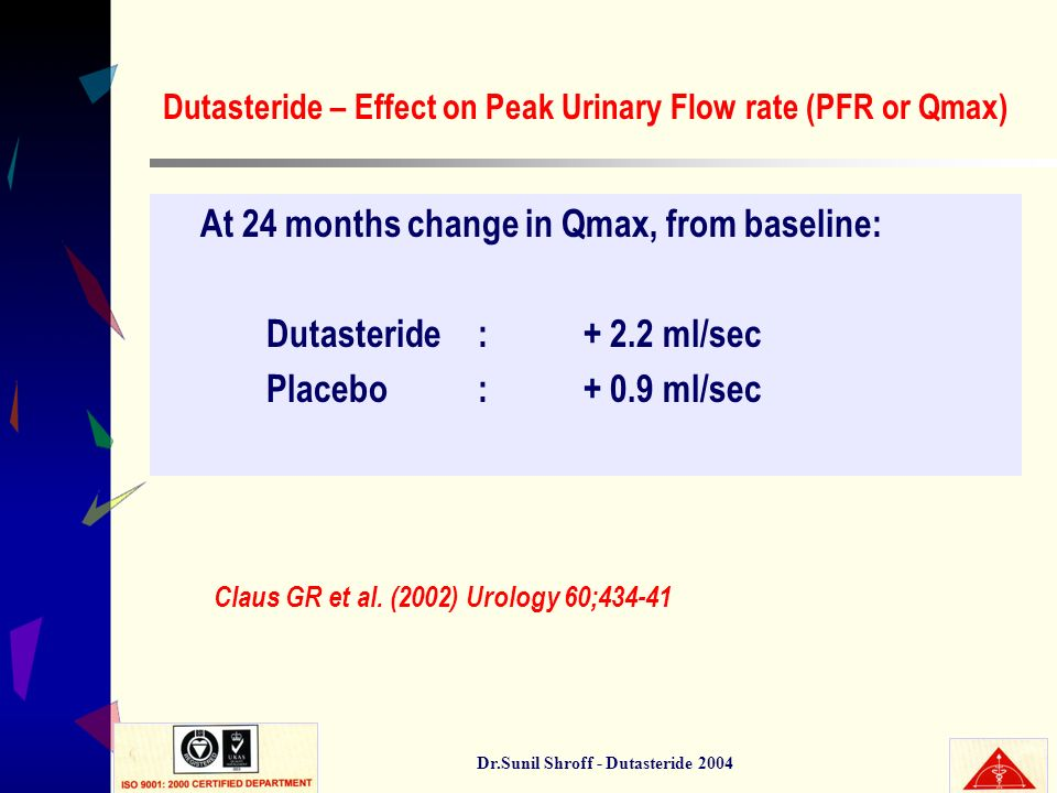 Dutasteride – Effect on Peak Urinary Flow rate (PFR or Qmax)