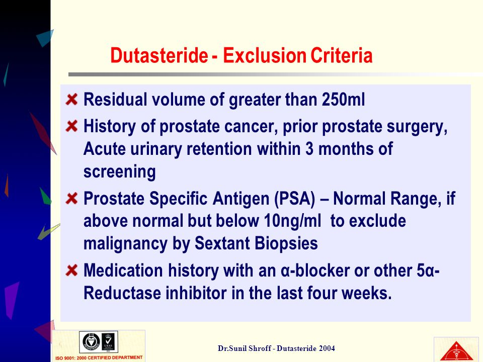 Dutasteride - Exclusion Criteria