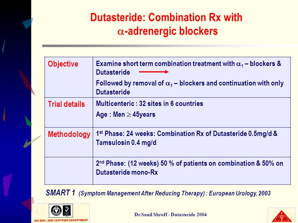 Dutasteride: Combination Rx with -adrenergic blockers