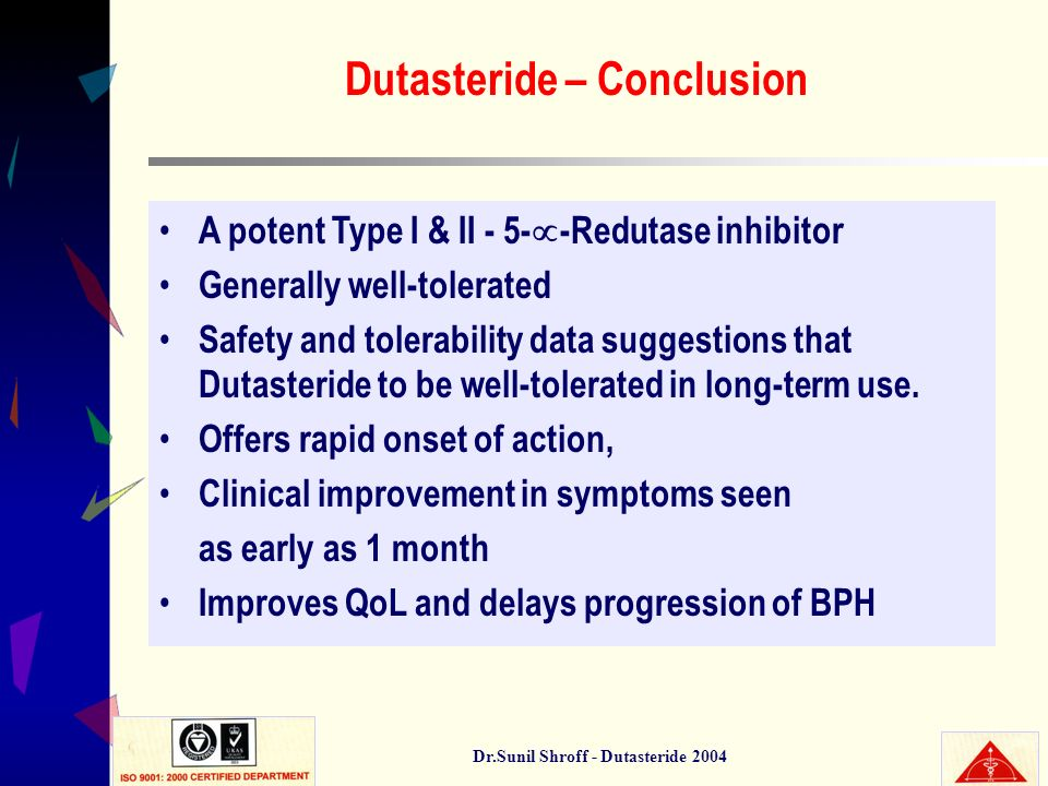 Dutasteride – Conclusion Dr.Sunil Shroff - Dutasteride 2004