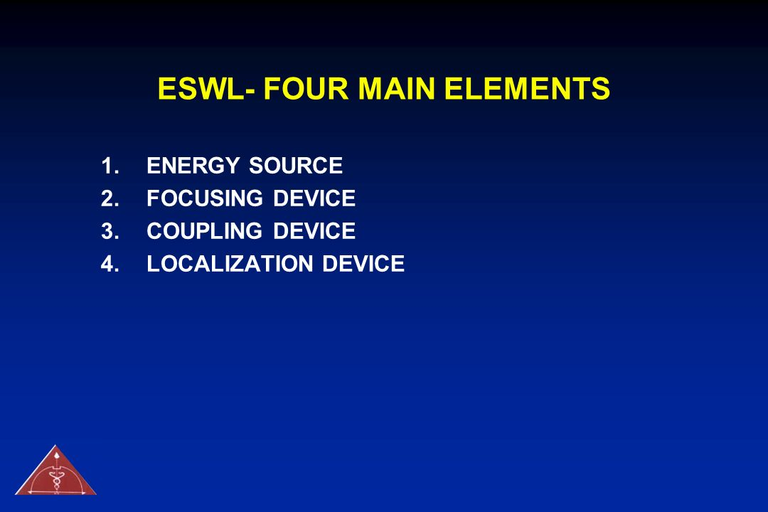 ESWL- FOUR MAIN ELEMENTS