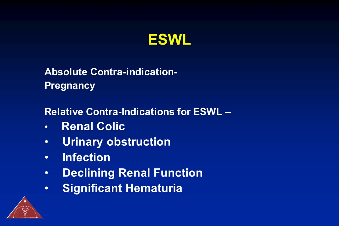 ESWL Urinary obstruction Infection Declining Renal Function