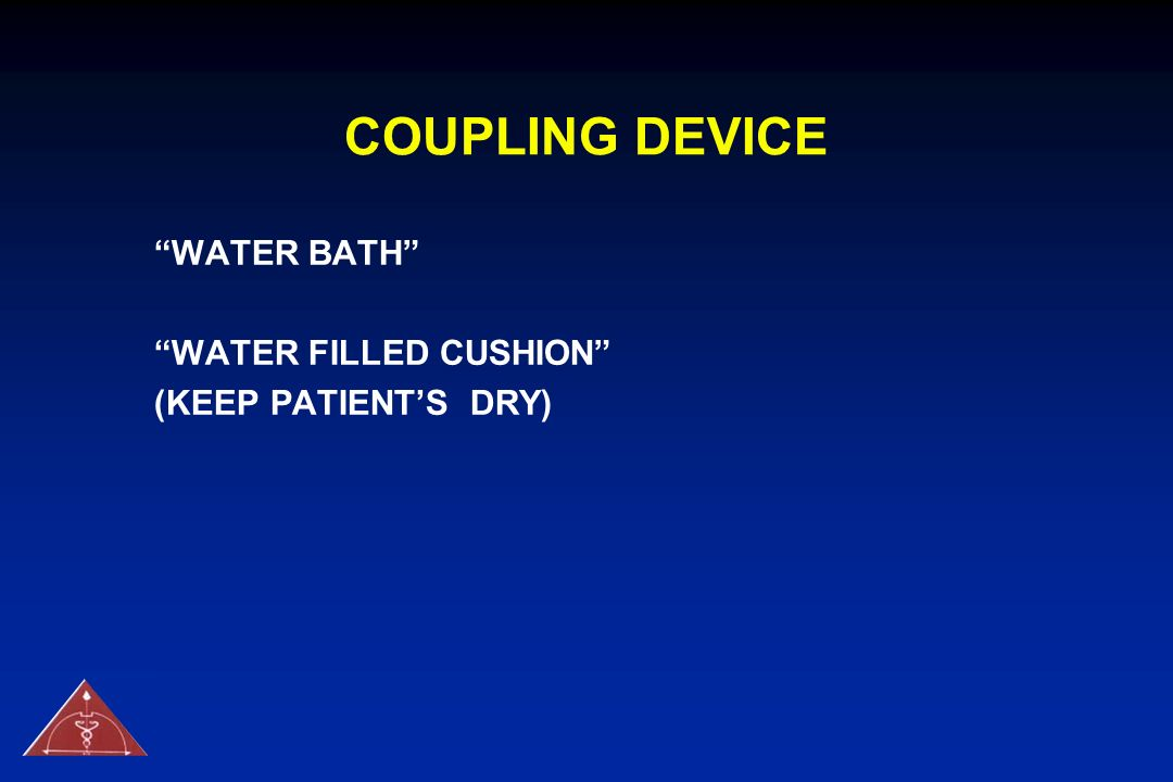 COUPLING DEVICE WATER BATH WATER FILLED CUSHION