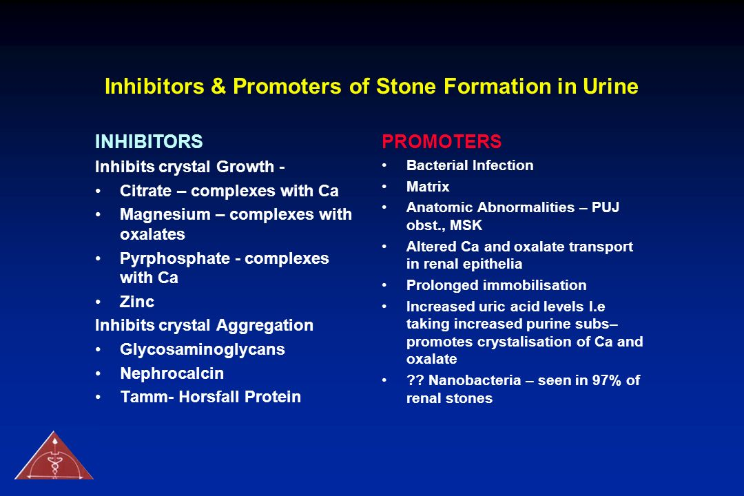 Inhibitors & Promoters of Stone Formation in Urine
