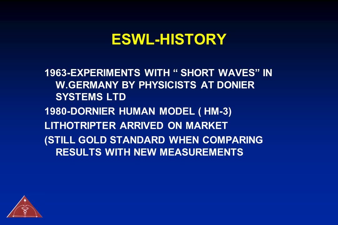 ESWL-HISTORY 1963-EXPERIMENTS WITH SHORT WAVES IN W.GERMANY BY PHYSICISTS AT DONIER SYSTEMS LTD.
