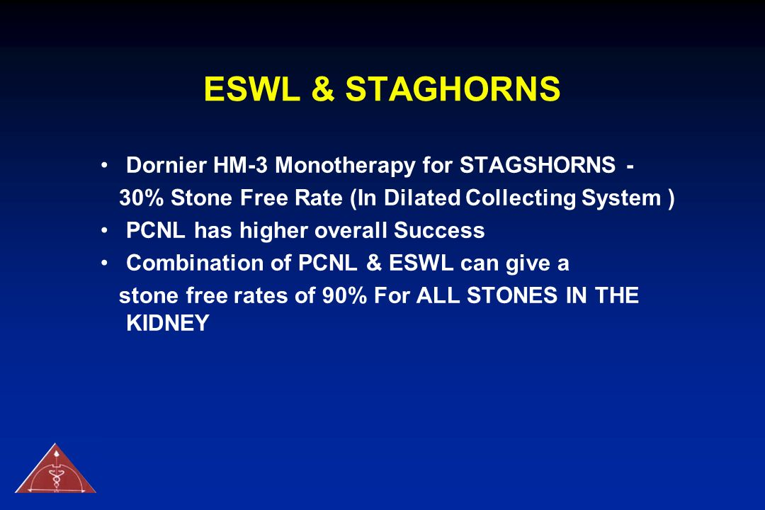 ESWL & STAGHORNS Dornier HM-3 Monotherapy for STAGSHORNS -