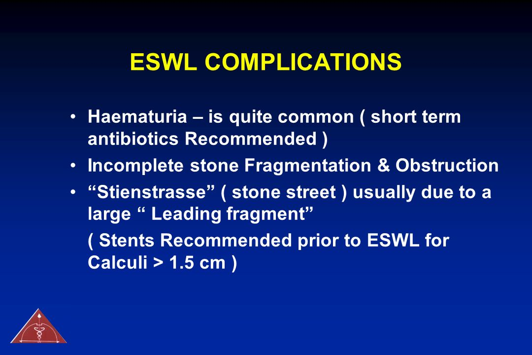 ESWL COMPLICATIONS Haematuria – is quite common ( short term antibiotics Recommended ) Incomplete stone Fragmentation & Obstruction.