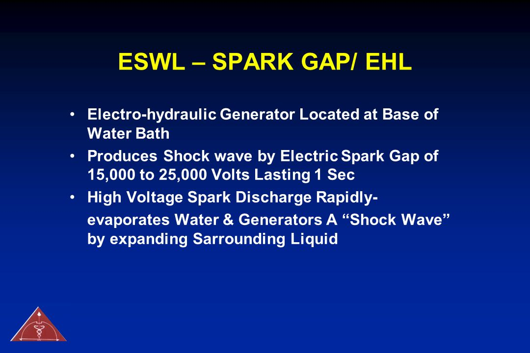 ESWL – SPARK GAP/ EHL Electro-hydraulic Generator Located at Base of Water Bath.