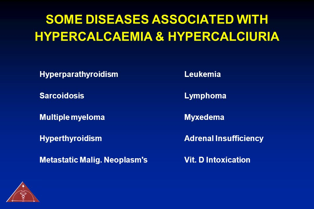 SOME DISEASES ASSOCIATED WITH HYPERCALCAEMIA & HYPERCALCIURIA