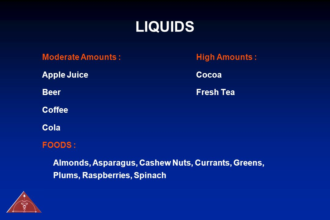 LIQUIDS Moderate Amounts : High Amounts : Apple Juice Cocoa
