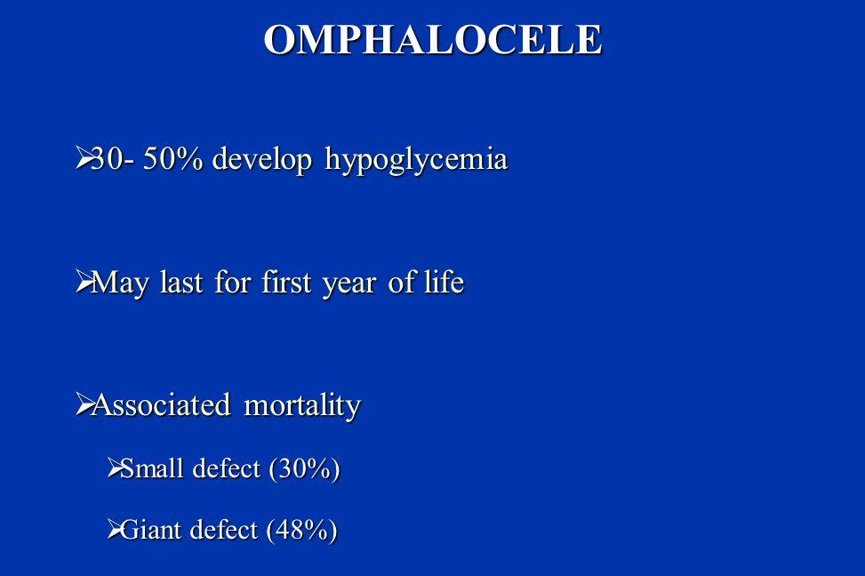 OMPHALOCELE 30- 50% develop hypoglycemia
