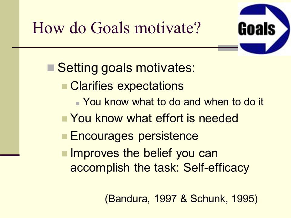 How do Goals motivate Setting goals motivates: Clarifies expectations