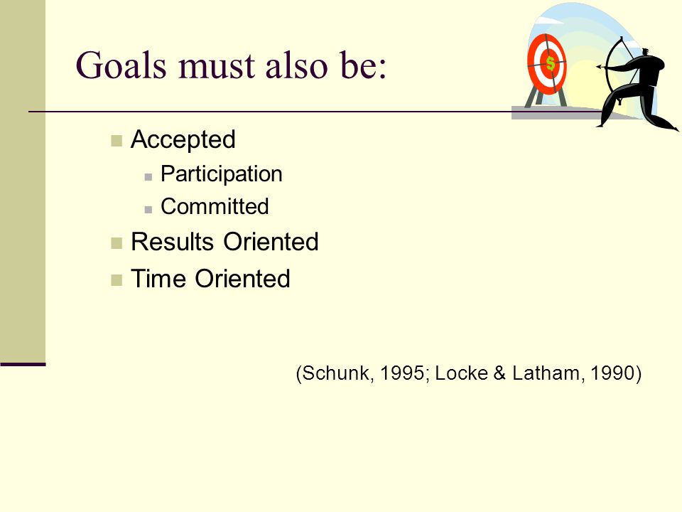Goals must also be: Accepted Results Oriented Time Oriented
