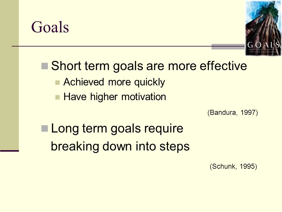 Goals Short term goals are more effective Long term goals require