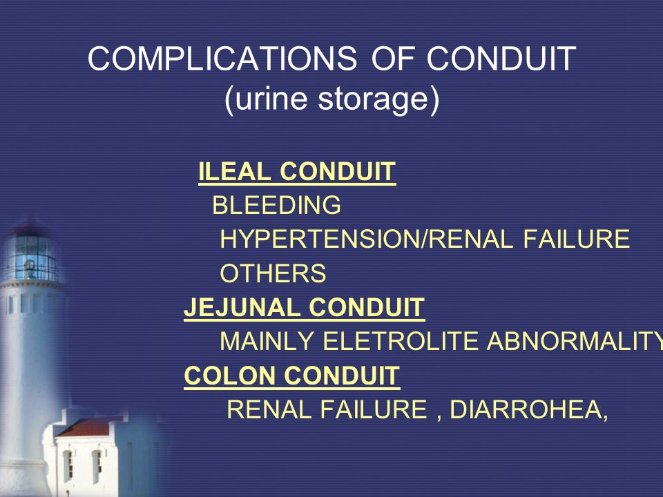 COMPLICATIONS OF CONDUIT (urine storage)