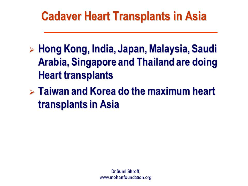 Cadaver Heart Transplants in Asia