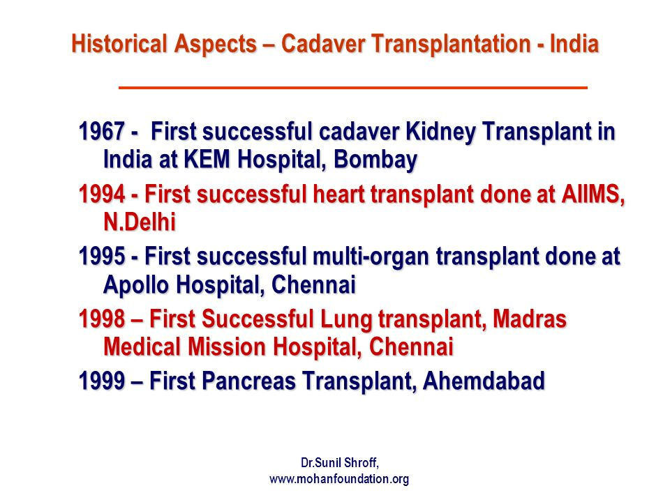 Historical Aspects – Cadaver Transplantation - India