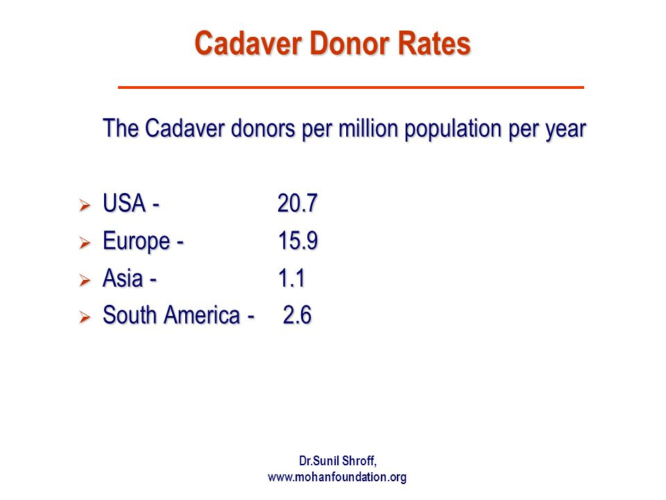 Cadaver Donor Rates The Cadaver donors per million population per year