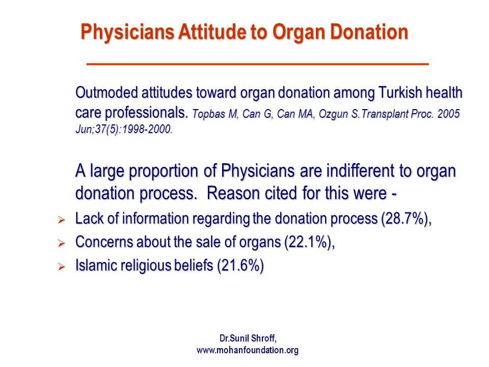 Physicians Attitude to Organ Donation