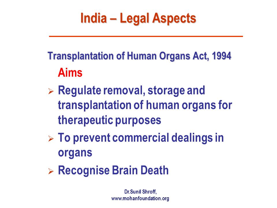 India – Legal Aspects Aims