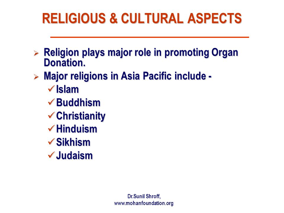 RELIGIOUS & CULTURAL ASPECTS