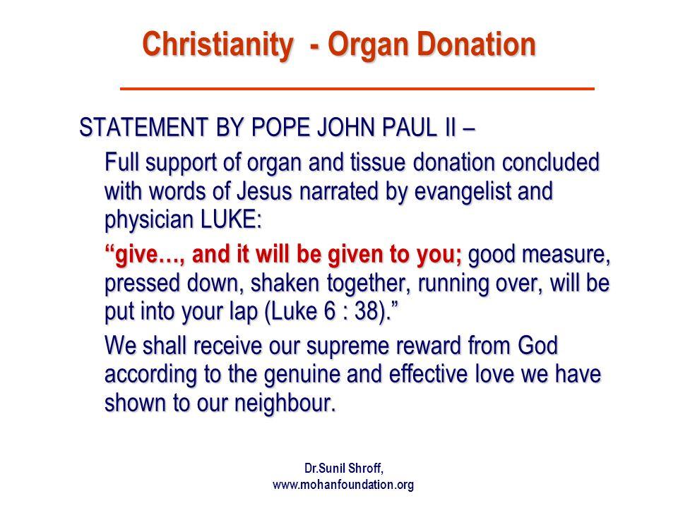 Christianity - Organ Donation