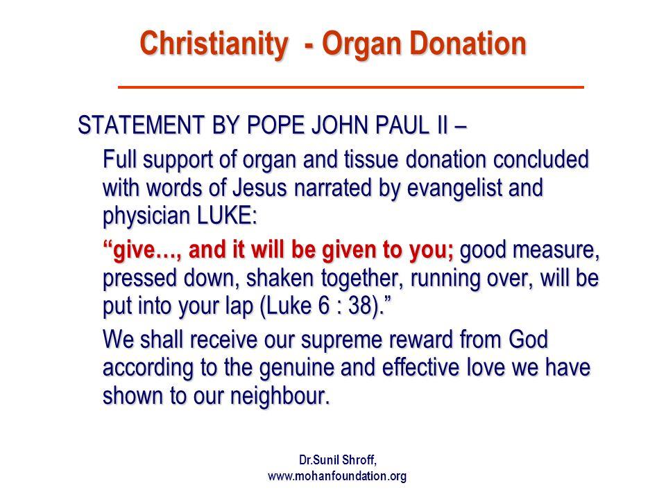 Christianity - Organ Donation
