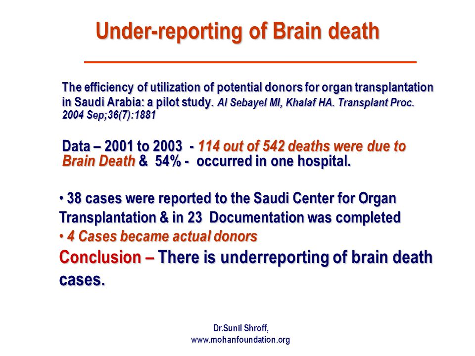 Under-reporting of Brain death