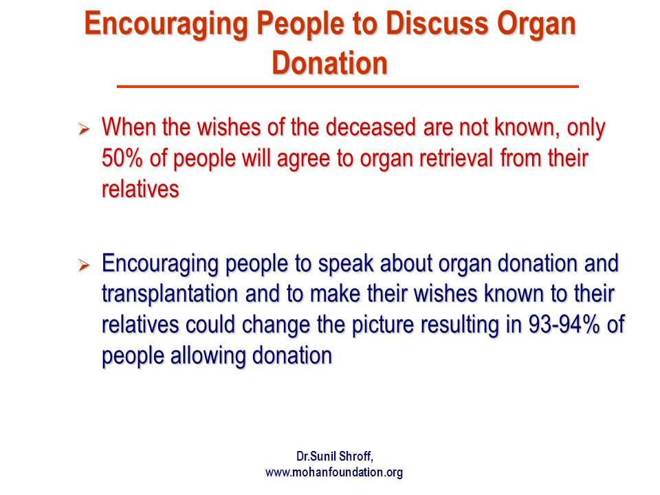 Encouraging People to Discuss Organ Donation