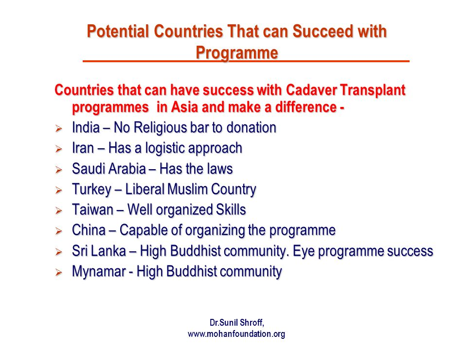 Potential Countries That can Succeed with Programme