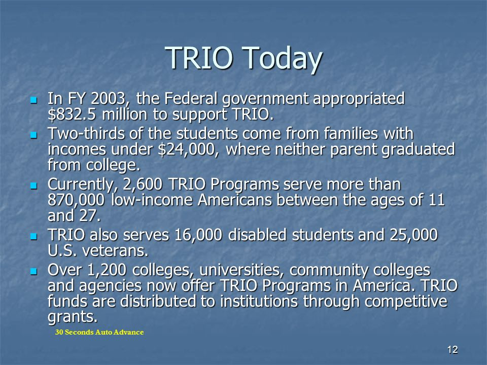 TRIO Today In FY 2003, the Federal government appropriated $832.5 million to support TRIO.