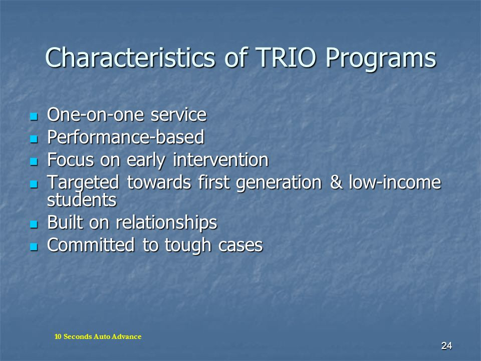 Characteristics of TRIO Programs