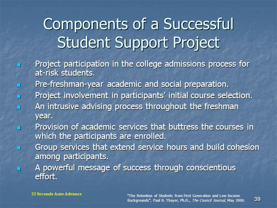 Components of a Successful Student Support Project