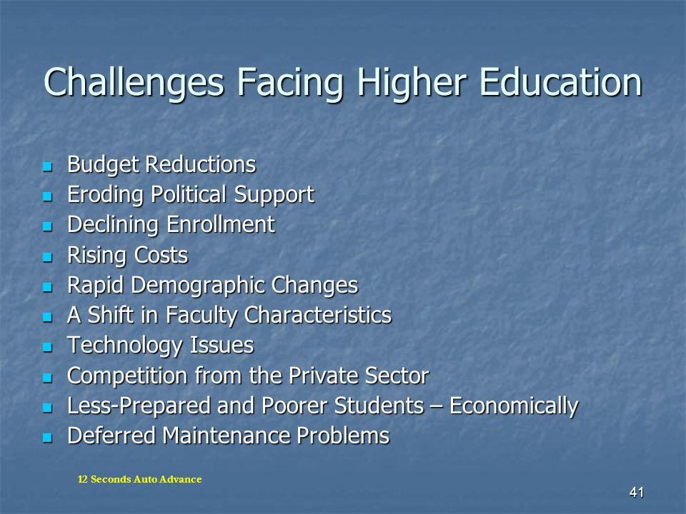 Challenges Facing Higher Education