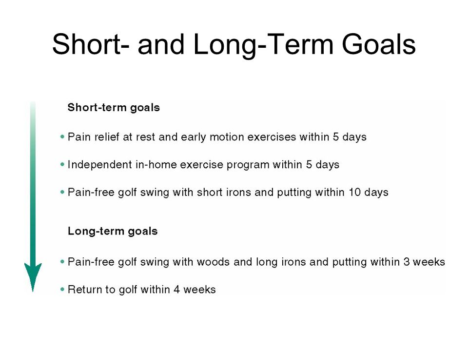 Long And Short Term Goals : Low back pain location construction