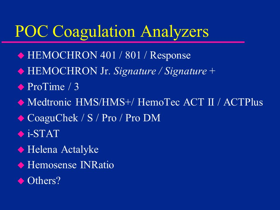 POC Coagulation Analyzers