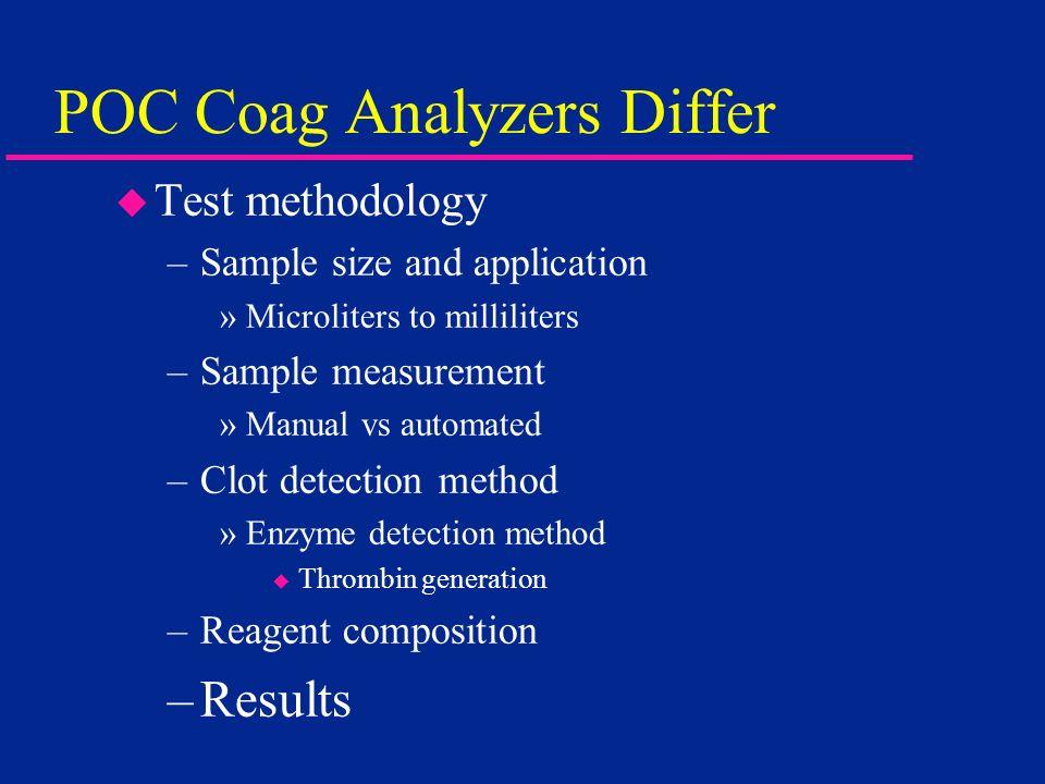 POC Coag Analyzers Differ