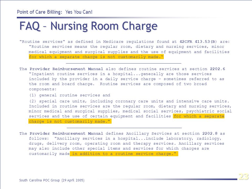 FAQ – Nursing Room Charge