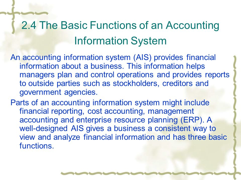 functions of accounting information The employee either functions as a lead worker overseeing  reconciles transactions, financial data, and other information to an automated accounting system.