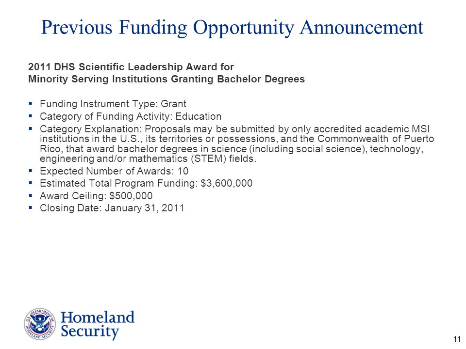 Previous Funding Opportunity Announcement