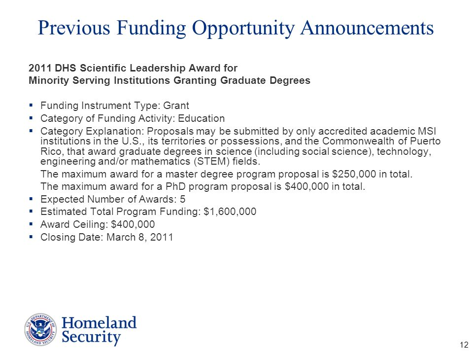 Previous Funding Opportunity Announcements