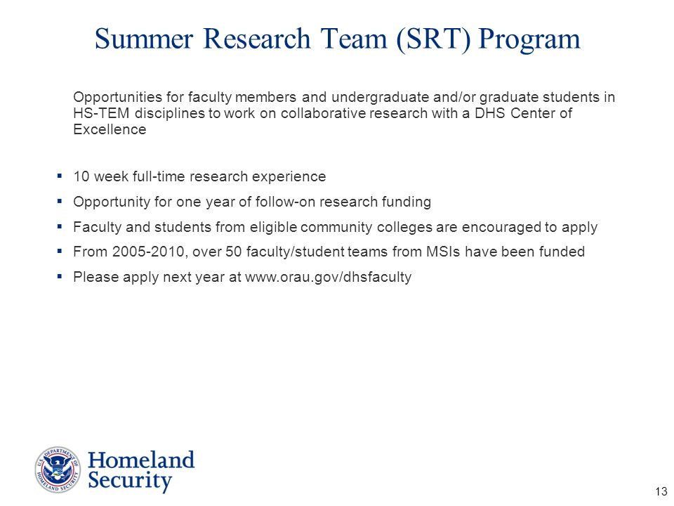 Summer Research Team (SRT) Program