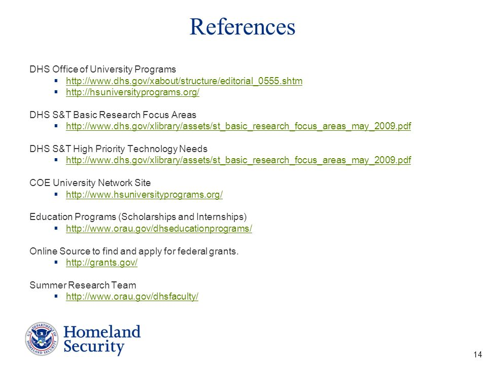 References DHS Office of University Programs