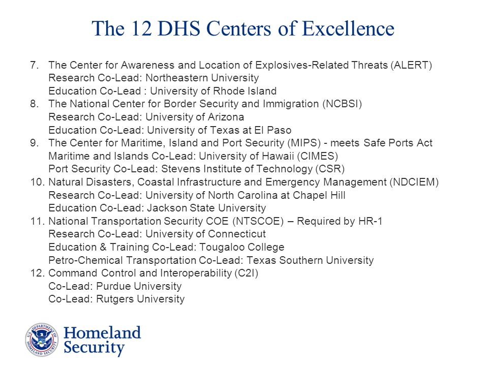The 12 DHS Centers of Excellence