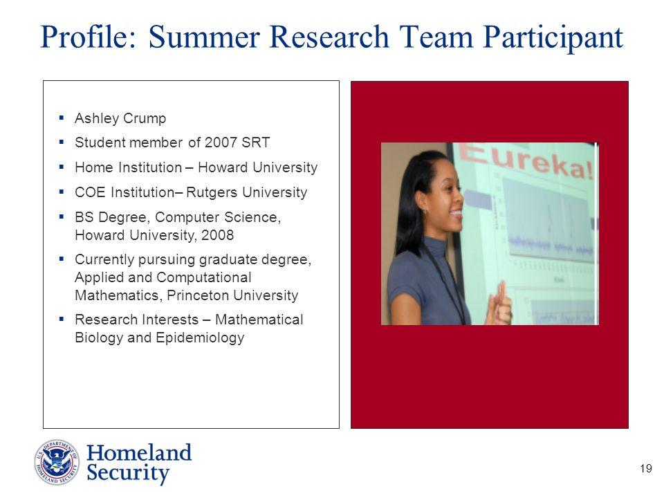 Profile: Summer Research Team Participant