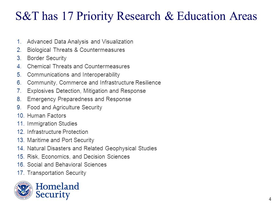 S&T has 17 Priority Research & Education Areas