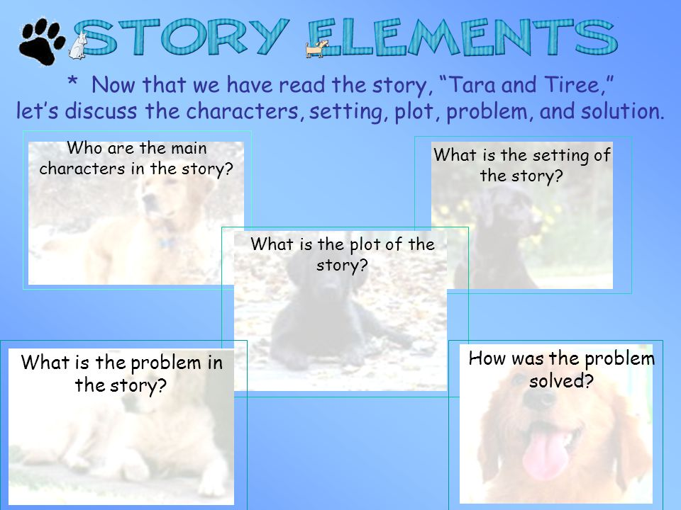* Now that we have read the story, Tara and Tiree, let's discuss the characters, setting, plot, problem, and solution.